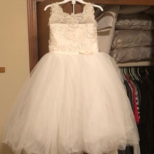 Little girls ivory princess gown